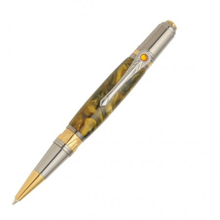 Art Deco Ballpoint Pen Kit - Black TN & Gold TN full