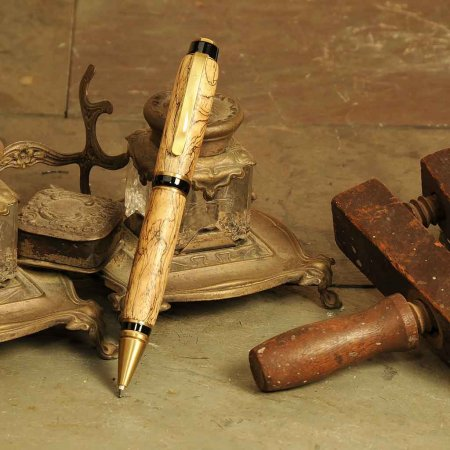 Big Ben Cigar Pen Kit - Antique Brass - open