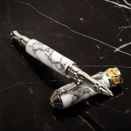 Nouveau Sceptre Rollerball Pen Kit - Rhodium & 22KT Gold full