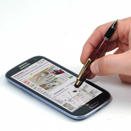 Mini Touch Stylus Twist Pen - Chrome. In Use