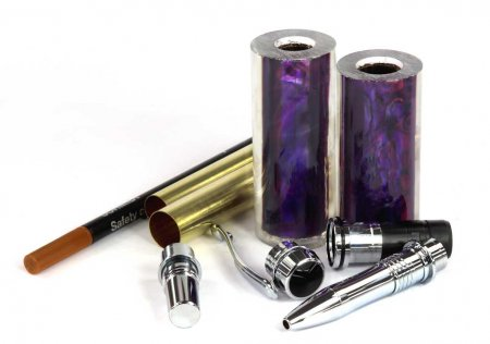Jr. George Rollerball Pen Kit & Paua Shell Pen Blank Combo. Purple Pen Blank