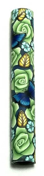 Melanie's Polymer Clay Pen Blank - Emerald Roses and Blue Morphos