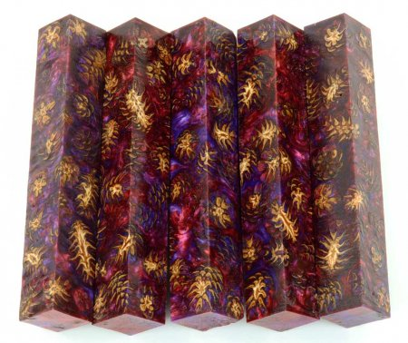 Mini Pine Cone Pen Blanks - Red & Purple