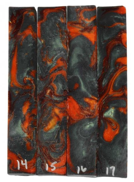 Red Dragon Scrolled Pen Blanks #14-17. Reverse View.