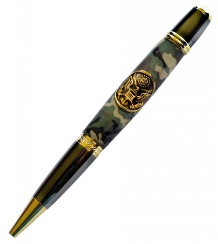 Army Button & Green Camo Pen Blanks on a Sierra