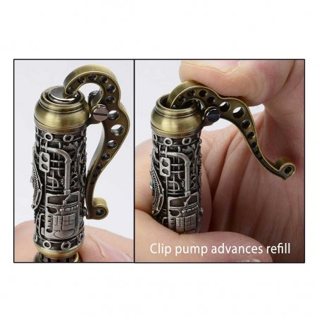 SteamPump Pen Kit - Antique Pewter & Antique Brass cap detail
