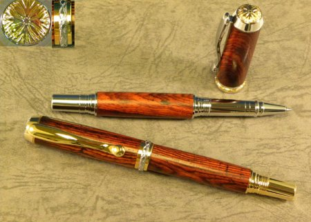 Triton Rollerball - Ti Gold With Chrome Accents 2 pen