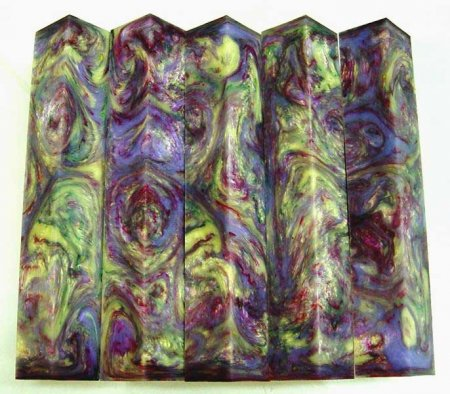 Long Vaper Swirl Pen Blanks #01 - Northern Lights (Long) close up