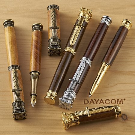 Jr. Zeus Fountain Pen Kit - Antique Brass - open 2
