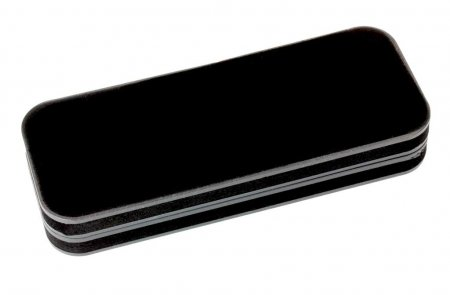 Black Velveteen Pen Box. Closed View.