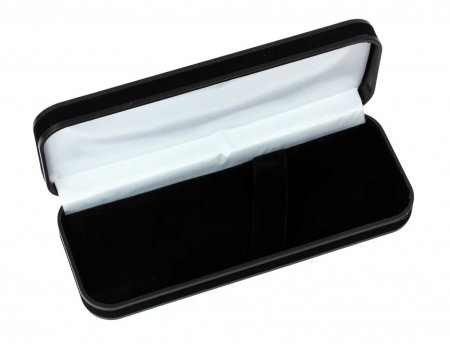 Black Velveteen Pen Box. Open View.