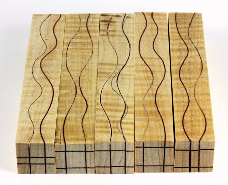 Segmented Serpentine Blanks - Curly Maple With Redheart Veneers