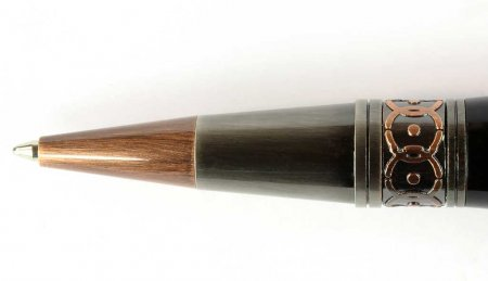 ProX Art Deco Twist Ballpoint Pen Kit - Gun Metal & Rose Copper (Rose Copper Clip) close up