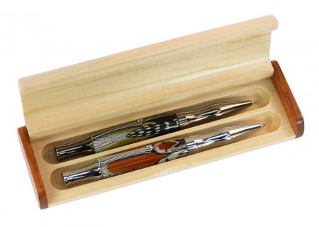 Maple Double Pen Gift Box With Contrasting Accents. Alt View.