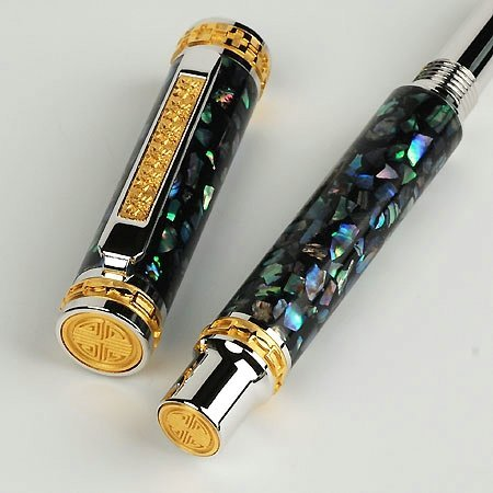 Emperor Fountain Pen Kit - Rhodium & 22K Gold - open