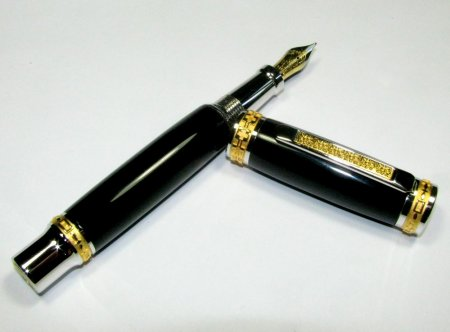 Jr Emperor Rollerball Pen Kit - Rhodium & 22K Gold - open