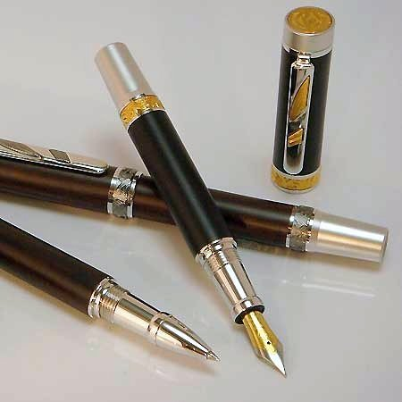 Imperial Rollerball Pen Kit - Rhodium & 22KT Gold - open 3