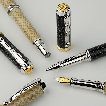 Jr Statesman Rollerball Pen Kit - Rhodium & 22KT (Postable) - open 2