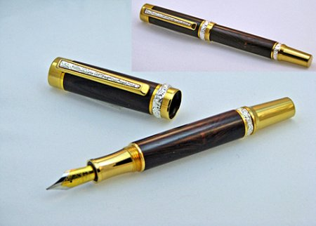 Cambridge Fountain Pen Kit - Ti-Gold With Stunning Silver Accents 2
