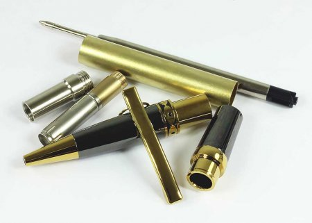Ellipse Ballpoint Pen Kit - Titanium Gold & Gunmetal - open