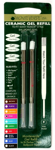 Monteverde Parker Style GEL Refills - Rainbow Carded  (Choose From 7 Colors!)