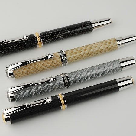 Jr Statesman Fountain Pen Kit - Rhodium & Black Ti (Non Postable) - open 4